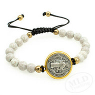 St. Benedict Medal, Slip Knot Bracelet With White Marbleized Beads