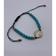 St. Benedict Medal, Slip Knot Bracelet With Turquoise Marbleized Beads