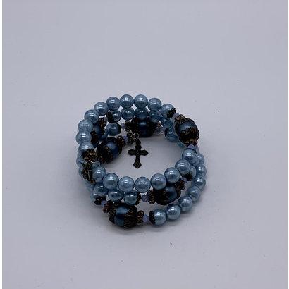 Vintage Rustic Wrap Bracelet- Blue Rosary