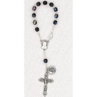 Black Glass 6mm Bead-Auto Rosary