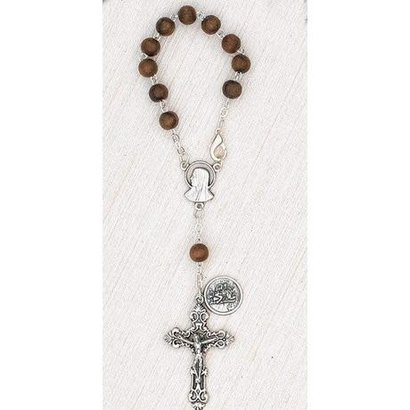 Wood 6mm Bead Auto Rosary with Premium Centerpiece With St. Christopher Medal