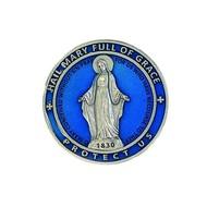 Miraculous Medal Blue Enamel Visor Clip