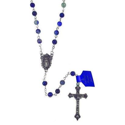 Multi-Color Jade Auto Rosary - Dark Blue Tones