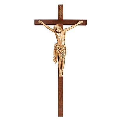"""Antique Gold Crucifix, Walnut Cross 34"""""""