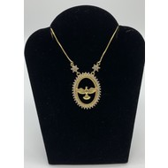 Holy Spirit Gold Plated Necklace with Rhinestones