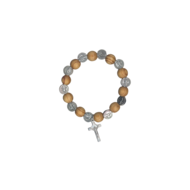 Natural Wood St. Benedict Bead Stretch Rosary Bracelet