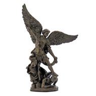 """ST MICHAEL LLIGHTLY HAND PAINTED COLD CAST BRONZE WITH DEVIL 4"""""""