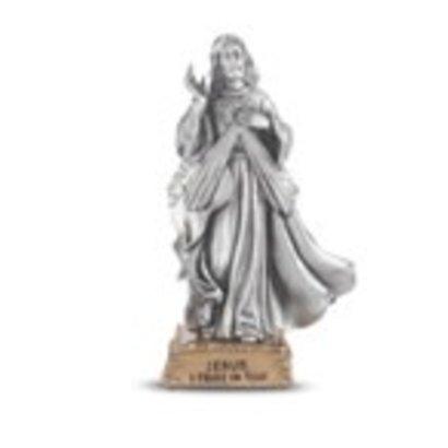 "Divine Mercy- 4 1/2"" Pewter Statue"