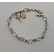Rosary Bracelet, Gold Filled, Crystal