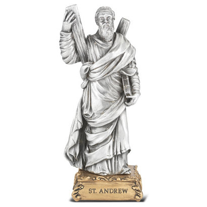 """St. Andrew- 4 1/2"""" Pewter Statue"""