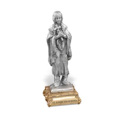 "St. Kateri- 4 1/2"" Pewter Statue"