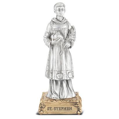 "St. Stephen- 4 1/2"" Pewter Statue"