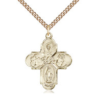 4-Way Medal, 14k Gold Filled w/Chain 24""