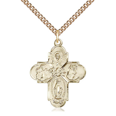"""4-Way Medal, 14k Gold Filled w/Chain 24"""""""