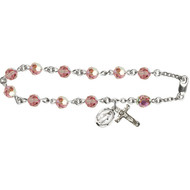 Rosary Bracelet, Sterling  Silver with  6mm Rose Swarovski Austrian Beads