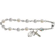 Sterling Silver Rosary Bracelet with 6mm Swarovski Austrian  Beads