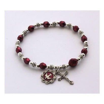 Burgundy Shadow Bead Rosary Bracelet With Holy Spirit Medal & Cross