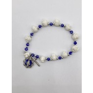 White Rose and Sapphire Bracelet with Miraculous Medal and Crucifix