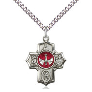 5-Way Medal Sterling Silver W/Chain 24""