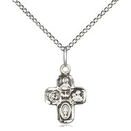 """5-Way Medal  Sterling Silver 5/8"""" x 3/8"""" w/Chain 18"""""""