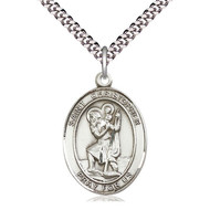 "St. Christopher Oval Medal 1"" x 3/4"", Sterling Silver w/Chain 24"""