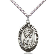 "St. Christopher Medal, 1"" x 5/8"" Sterling Silver w/Chain 24"""