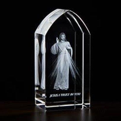 Divine Mercy Etched Glass, 3-1/4'' H