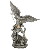 St. Michael The Archangel Pewter Style Finish with Golden Highlights, 29""