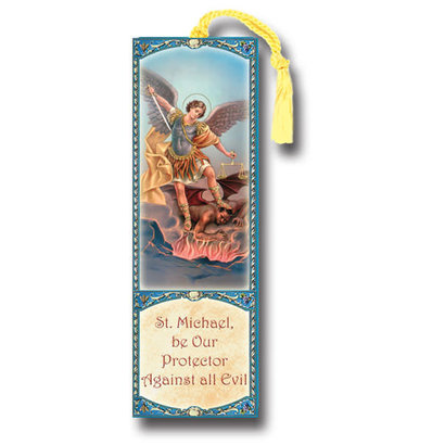 "Saint Michael 2.25"" x 6"" Laminated Tasseled Bookmark"