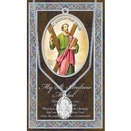 Genuine Pewter St. Andrew the Apostle Medal w/Booklet