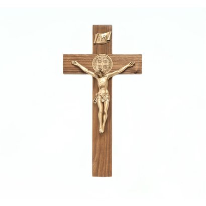 """St. Benedict 12"""" Crucifix- Walnut with Antique Gold Corpus"""