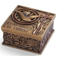 "CONFIRMATION KEEPSAKE BOX; BRONZE FINISH 2.75""H"