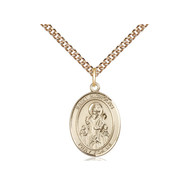 "St. Nicholas Medal, 3/4"" x 1/2"" Gold Filled w/Chain 18"""