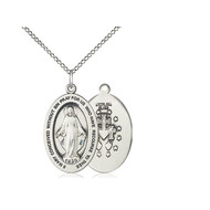 """Miraculous Medal Sterling Silver, 1"""" x 5/8"""", with Chain 18"""""""