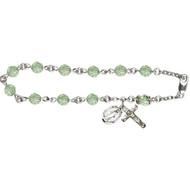 Rosary Bracelet Steling Silver with 6mm Chrysolite Swarovski Beads