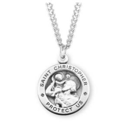 """Saint Christopher Round Sterling Silver Medal, 24"""" Chain"""