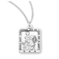 """Saint Christopher Small Square Sterling Silver Medal, 18"""" Genuine rhodium plated curb chain"""