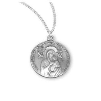 """Sterling Silver Our Lady of Perpetual Help Round Medal, 18"""" Genuine rhodium plated curb chain"""