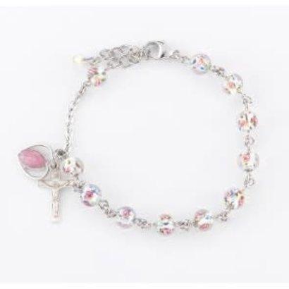 Rosary Bracelet, 6mm Murano Venetian Glass Crystal Flower Sterling Silver