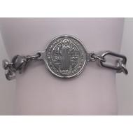 "6"" St. Benedict Wide Link Bracelet Stainless Steel"
