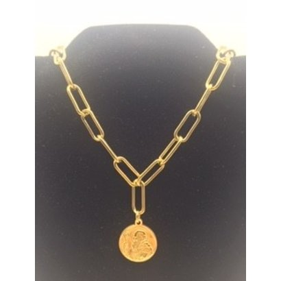 St. Benedict Wide Link Stainless Steel Necklace Gold Plated