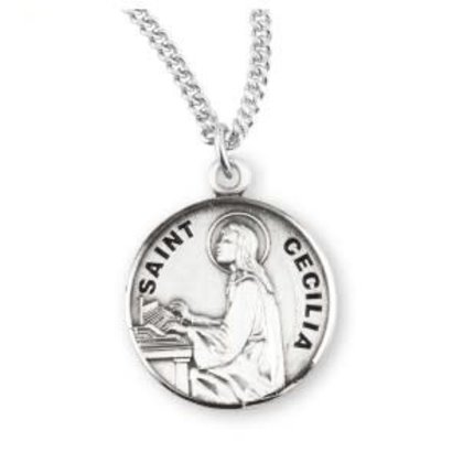 """St. Cecilia Medal, Sterling Silver 0.9"""" x 0.7"""", with Chain 18"""""""