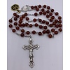 6MM Red Agate Rosary with Sterling Silver Center and Crucifix