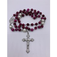 Fuchsia Dyed 8mm Marblehead Glass Rosary with Pewter Center and Crucifix