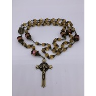 """Topaz Toned 8mm Faceted Glass Glass Tulip Capped Rosary 27""""with Antique Brass Crucifix"""