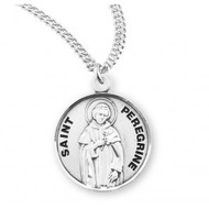 """Saint Peregrine Round Sterling Silver Medal, 20"""" Genuine rhodium plated curb chain"""