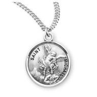 "Patron Saint Michael Round Sterling Silver Medal, 20"" Genuine rhodium plated curb chain"