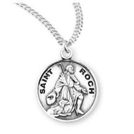"Patron Saint Roch Round Sterling Silver Medal , 20"" Genuine rhodium plated curb chain"