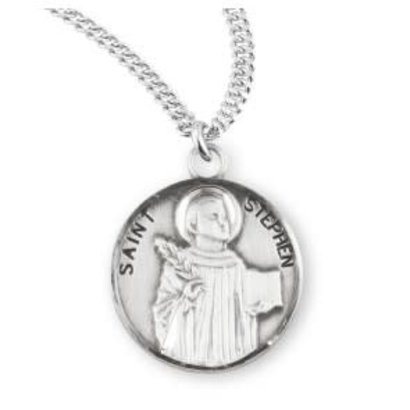 "Patron Saint Stephen Round Sterling Silver Medal , 20"" Genuine rhodium plated curb chain"