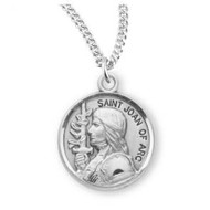 """Patron Saint Joan of Arc Round Sterling Silver Medal, 18"""" Genuine rhodium plated fine curb chain"""